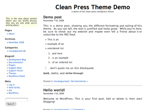 wordpress tema clean press