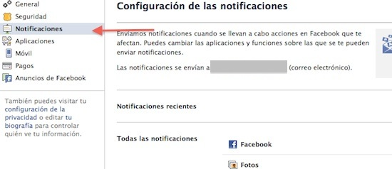 configurar notificaciones facebook