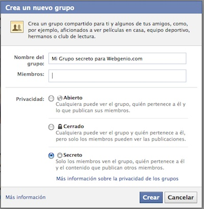 C mo crear un grupo de facebook super secreto blog for Grupo facebook