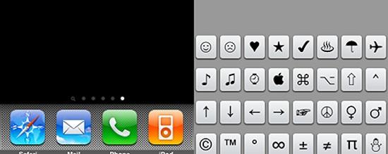 caracteres especiales iphone ipad glyphboard