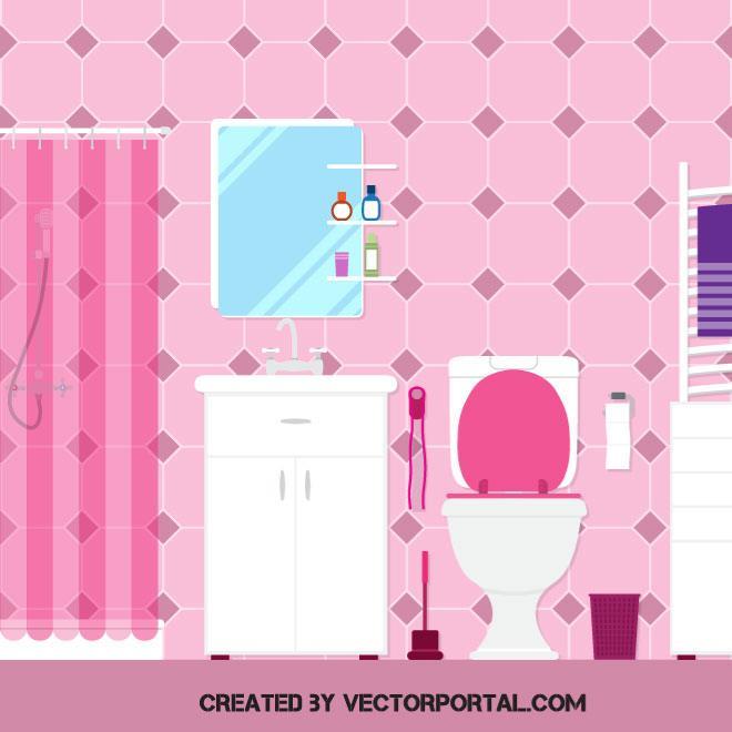 Cuarto de ba o con inodoro espejo lavabo y ducha con for Cuartos de bano rosa