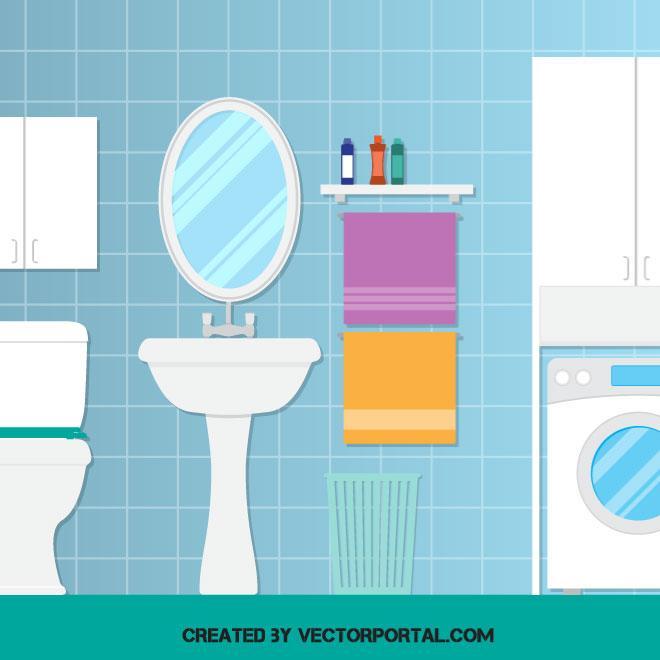 Cuarto de ba o con lavadora lavabo e inodoro con toallas for Mueble animado