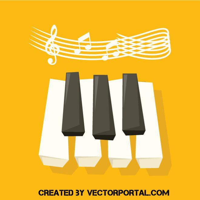 Teclas De Piano Y Notas Musicales Con Fondo Amarillo