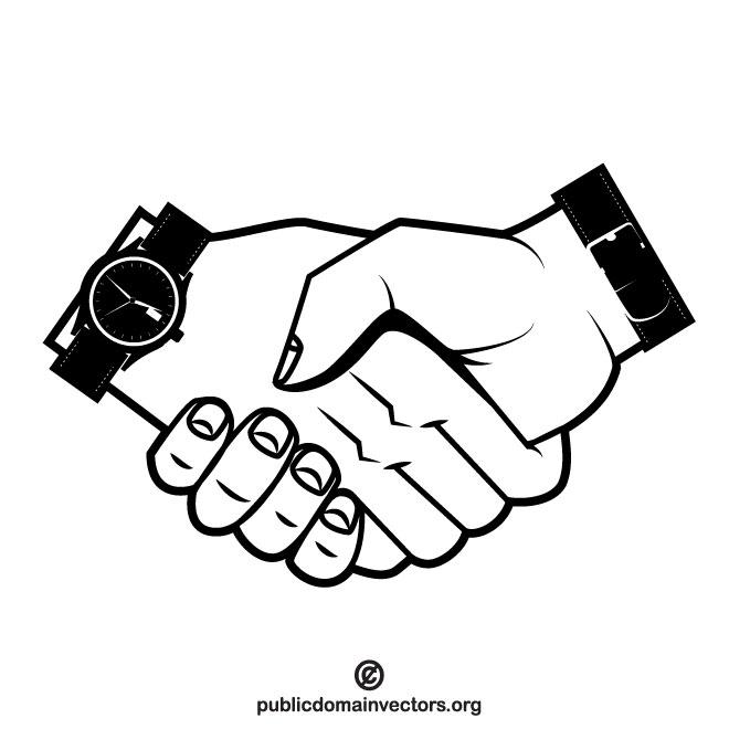 Ilustración Dándose La Mano, Símbolo De Sellar Un Negocio