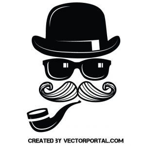 Sombrero negro, gafas de sol bigote y pipa