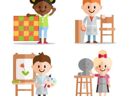 Niños artistas pintando y esculpiendo - Vectores Gratis - WebGenio