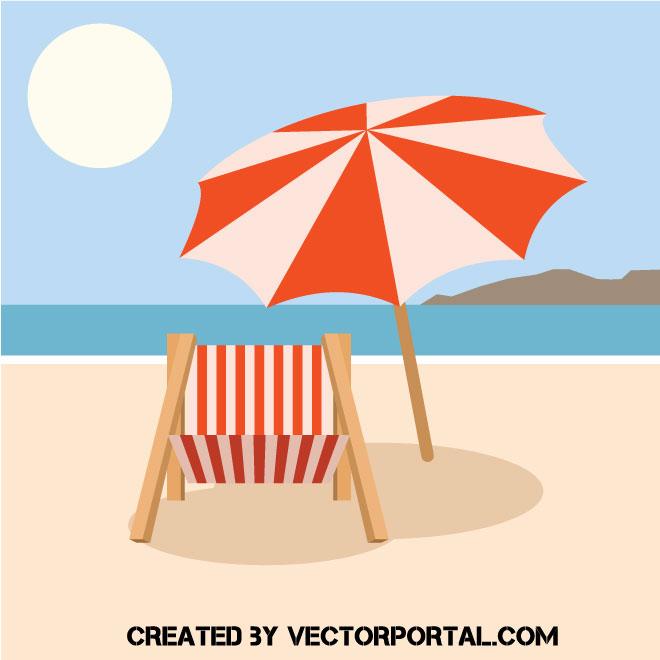 Playa vac a con una sombrilla y una silla de playa vectores gratis webgenio - Sombrilla playa ...