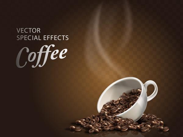 taza de caf233 humeante con caf233 en grano vectores gratis
