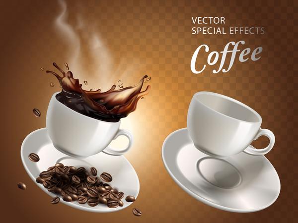 Dos tazas de caf una llena y otra vac a con efectos for Tazas para cafe espresso