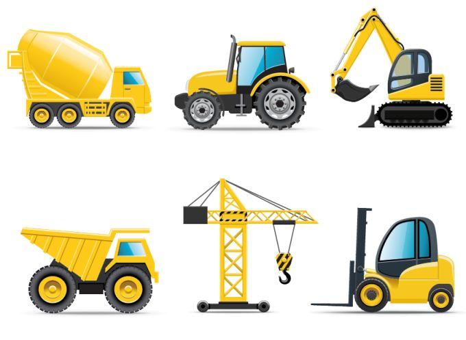 Vehículos de construcción de color amarillo - Vectores Gratis - WebGenio