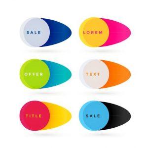 Banners de colores para ventas y ofertas
