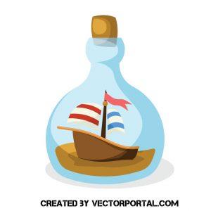 Imagen de un barco dentro de una botella con velas rojas y azules