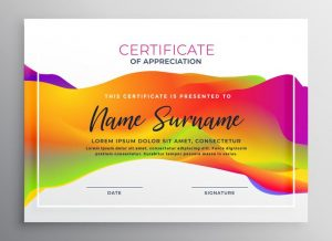 Plantilla de certificado con colores creativa
