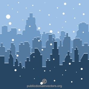 Ciudad con nieve en invierno