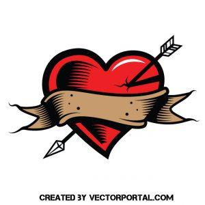 Un corazón con una flecha, símbolo del amor