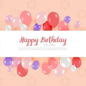 Tarjeta de felicitación de cumpleaños con globos en colores pastel
