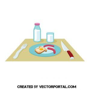 Ilustración de desayuno americano con tostadas, huevo, leche y salchichas