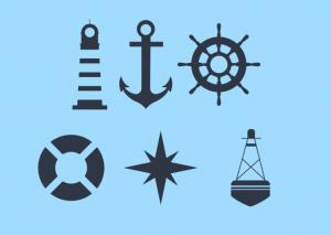 Iconos de elementos náuticos, ancha, faro, timón, boya, salvavidas