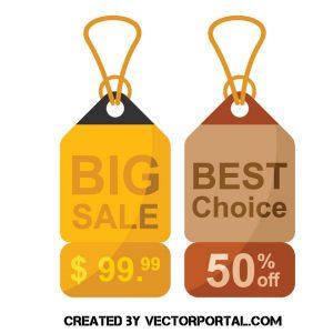 Etiquetas de precio para artículos 'Gran Venta' y 'Mejor Elección'