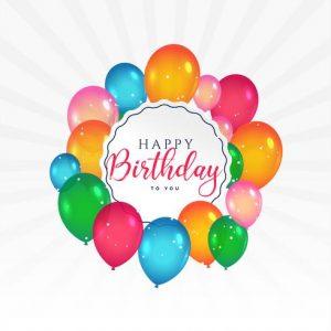 Tarjeta 'Cumpleaños feliz' con globos de colores