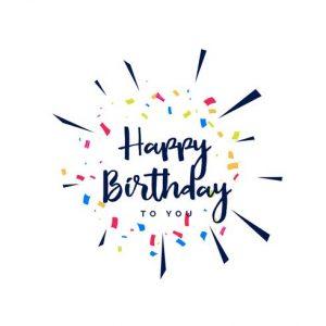 Rótulo 'Feliz cumpleaños' con confetti