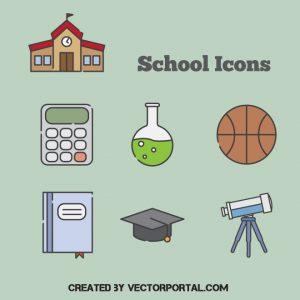 Iconos relacionados con colegios y educación, calculadora, probeta, pelota de baloncesto, telescopio