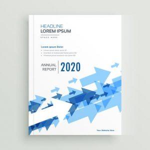 Folleto para informe anual con flechas azules