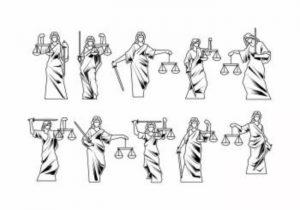 """Varias figuras de la """"Justicia"""" en varias poses"""