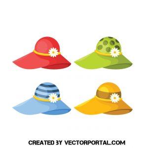 Sombreros de mujer de color verde, rojo, azul y amarillo