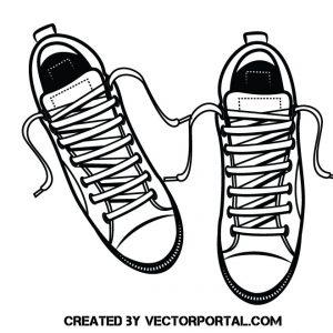 Zapatillas de deporte en blanco y negro con los cordones desatados
