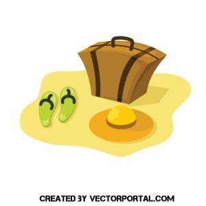 Ilustración de una maleta, sombrero y zapatillas en la playa