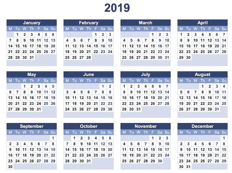 Calendario Con Semanas 2019 Para Imprimir.Calendarios 2019 Listos Para Imprimir O Para Usar Como