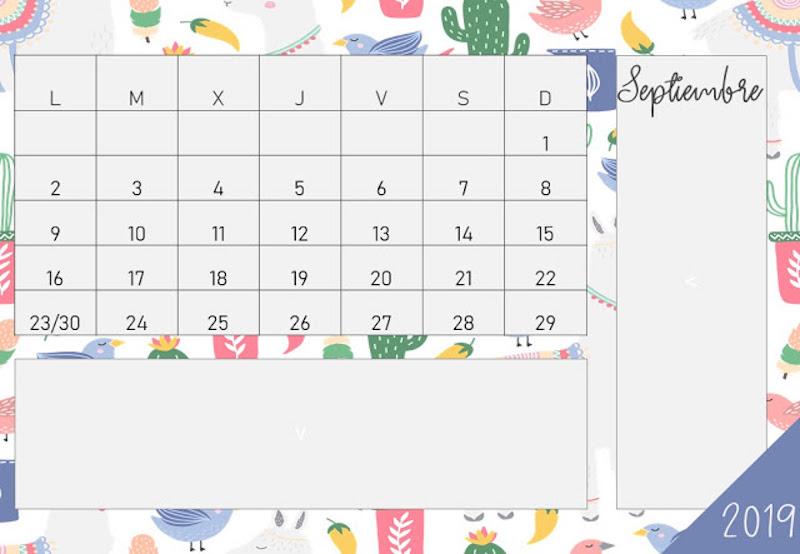 Calendario enero 2019 para fondo de pantalla